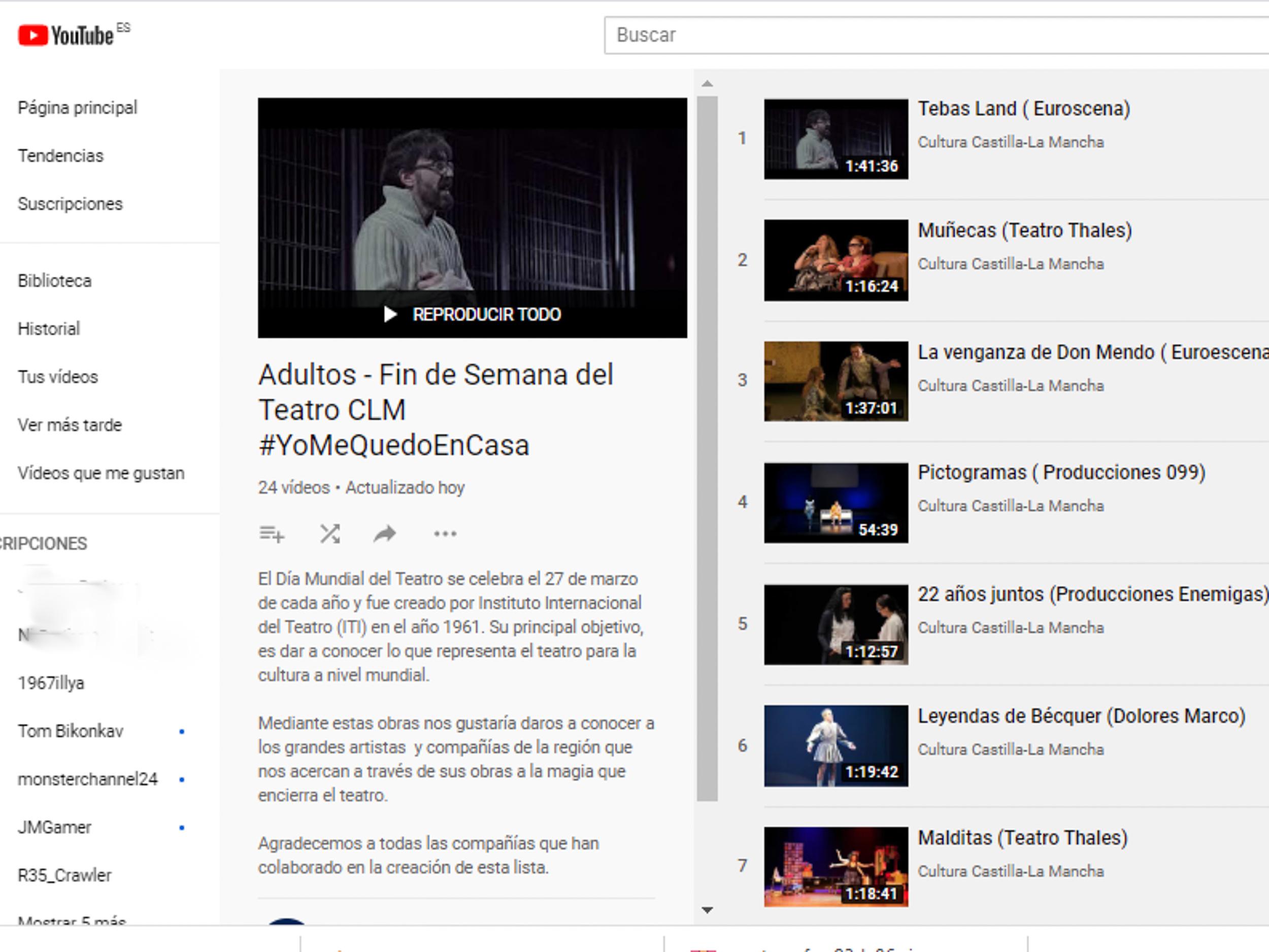 El Gobierno regional ofrece cerca de una treintena de obras teatrales online con motivo del Día Mundial del Teatro