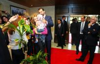 Barreda acompaña a los Príncipes de Asturias en su visita al Ayuntamiento de Albacete.
