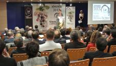 El consejero de Agricultura, Medio Ambiente y Desarrollo Rural, Francisco Martínez Arroyo, en la presentación de los vinos D.O. Mancha en el estadio de fútbol Santiago Bernabéu en Madrid