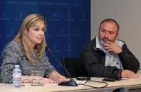 La consejera de Fomento, Elena de la Cruz, durante la reunión que ha mantenido hoy con el secretario general de la Unión General de Trabajadores en Castilla-La Mancha (UGT), Carlos Pedrosa