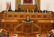 El consejero de Hacienda y Administraciones Públicas, Juan Alfonso Ruiz Molina, en el pleno de las Cortes regionales en el que se ha debatido la enmienda a la totalidad al proyecto de Ley de Presupuestos Generales de CLM
