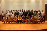 El vicepresidente primero de Castilla-La Mancha, José Luis Martínez Guijarro, asiste a la presentación oficial del equipo del Club Balonmano Liberbank Ciudad Encantada 2017-2018.
