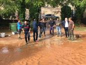 Visita de Ruiz Santos a zonas afectadas por la inundaciones en Ossa de Montiel