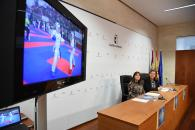 La consejera de Educación, Cultura y Deportes, Rosa Ana Rodríguez, informa, en rueda de prensa, sobre el desarrollo de las fases finales del campeonato regional de Deporte en Edad Escolar