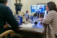 Videoconferencia con los representantes de la patronal y los sindicatos de Castilla-La Mancha