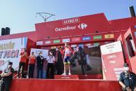 El presidente de Castilla-La Mancha, Emiliano García-Page, asiste a la llegada a meta de la 4ª etapa de la 76 edición de la Vuelta