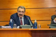 El consejero de Sanidad, Jesús Fernández Sanz, comparece en las Cortes Regionales para presentar el proyecto de presupuestos 2020 en materia sanitaria