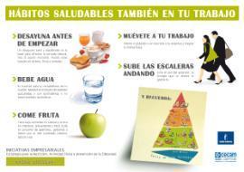 Cartel NAOS. Hábitos saludables en el trabajo.