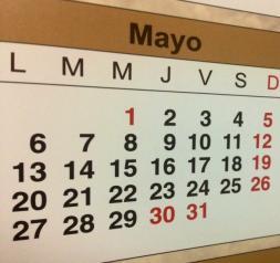 Calendario días inhábiles