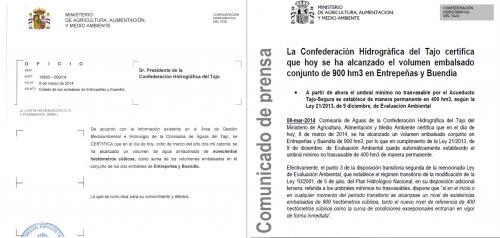 De la Cruz confirma que el propio Ministerio reconoció en 2014 que el límite no trasvasable era de 400 hectómetros cúbicos