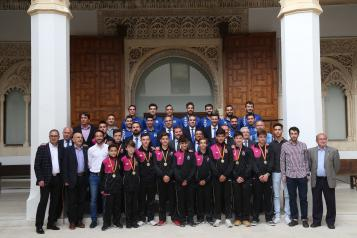 Recepción a la plantilla y al cuerpo técnico del Fútbol Sala Valdepeñas y a la Selección de Castilla-La Mancha Infantil de Fútbol Sala
