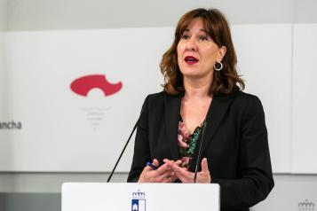 Blanca Fernández en la comparecencia de hoy en el Palacio de Fuensalida