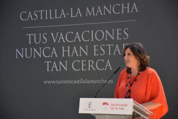 La consejera de Economía, Empresas y Empleo, Patricia Franco, presenta la campaña de promoción turística nacional 'Castilla-La Mancha, Tus vacaciones nunca han estado tan cerca'