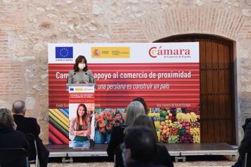 La consejera de Igualdad y portavoz del Gobierno regional, Blanca Fernández, asiste junto a la ministra de Industria, Comercio y Turismo, Reyes Maroto, a la presentación de la 'Campaña de apoyo al comercio de proximidad como factor clave para la recuperac