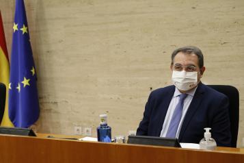 El consejero de Sanidad, Jesús Fernández Sanz, comparece en la Comisión de Presupuestos de las Cortes de Castilla-La Mancha, para explicar los presupuestos del año 2021 de la Consejería.