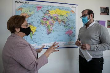 . La viceconsejera de Servicios y Prestaciones Sociales, Guadalupe Martín, visita la sede de la Entidad Movimiento por la Paz en Toledo