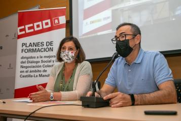 La consejera de Economía, Empresas y Empleo, Patricia Franco, clausura el 15º Encuentro Regional de Salud Laboral que organiza el sindicato Comisiones Obreras.
