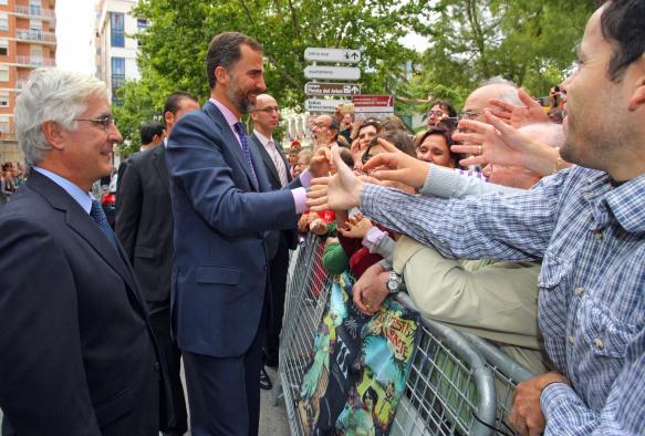 Barreda junto al Príncipe de Asturias a su llegada al Ayuntamiento de Albacete