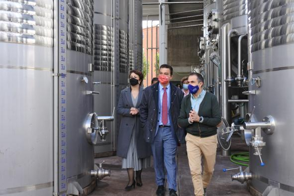 El consejero de Agricultura, Agua y Desarrollo Rural, Francisco Martínez Arroyo, visita la Sociedad Agraria de Transformación 'Virgen de Loreto' de Socuéllamos, que produce vinos amparados bajo la DO La Mancha.