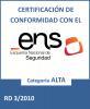Certificado de conformidad con el ENS de Servicios TIC de la DGAD al 112.